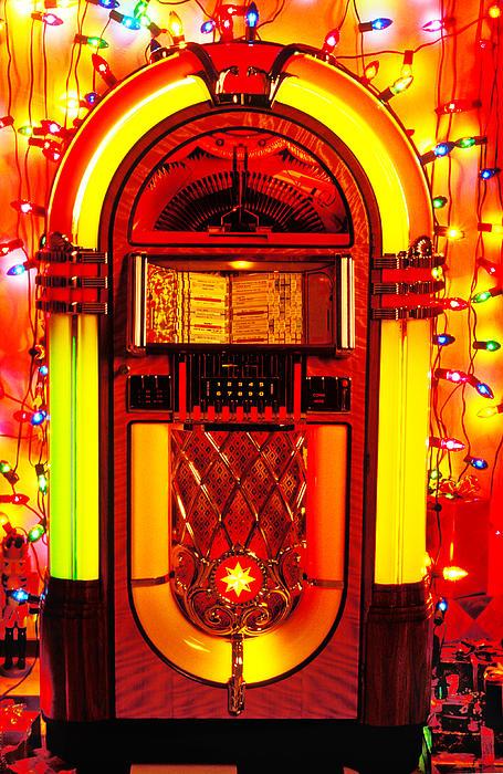 Juke Box With Christmas Lights Print by Garry Gay