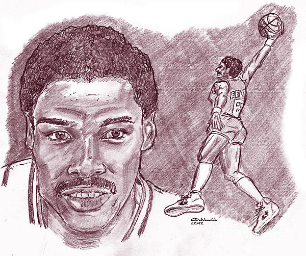 Julius Erving Drj Print by Chris  DelVecchio
