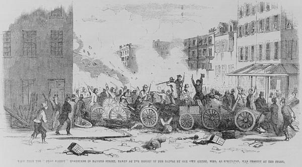 July 4 1857 Battle On Bayard Street Print by Everett