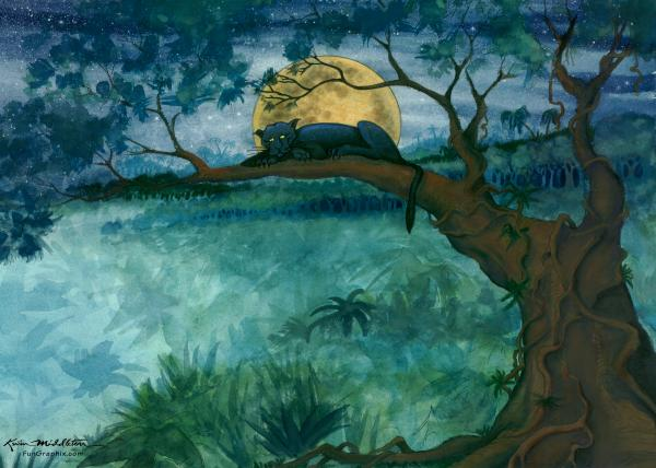 Jungle Panther Painting  - Jungle Panther Fine Art Print