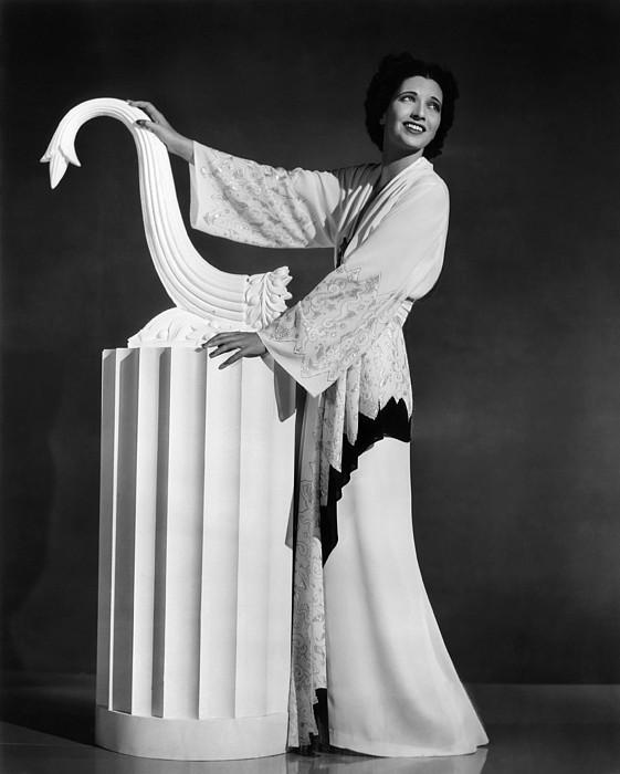 Kay Francis Modeling White-crepe Print by Everett