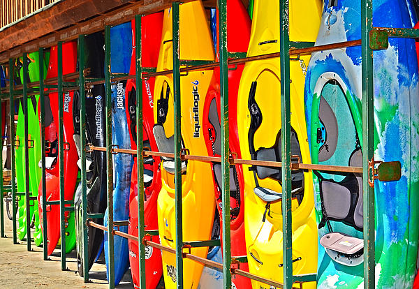 Kayaks In A Cage Print by Susan Leggett