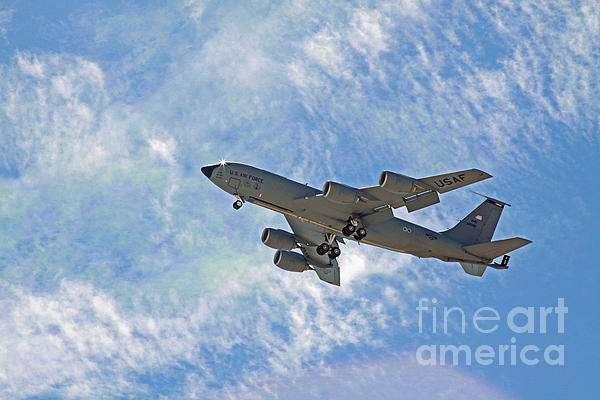 Kc-135 With Clouds Print by Kenny Bosak