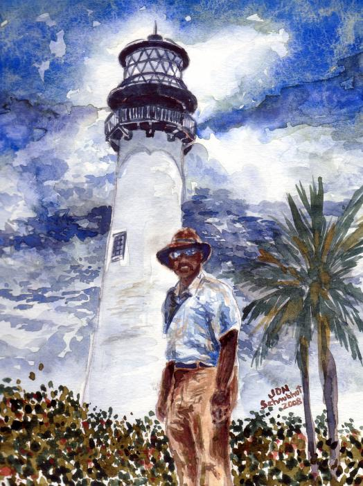 Keeper Of The Cape Florida Lighthouse Painting  - Keeper Of The Cape Florida Lighthouse Fine Art Print