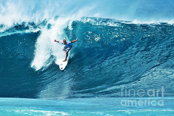 Kelly Slater At Pipeline Masters Contest Print by Paul Topp