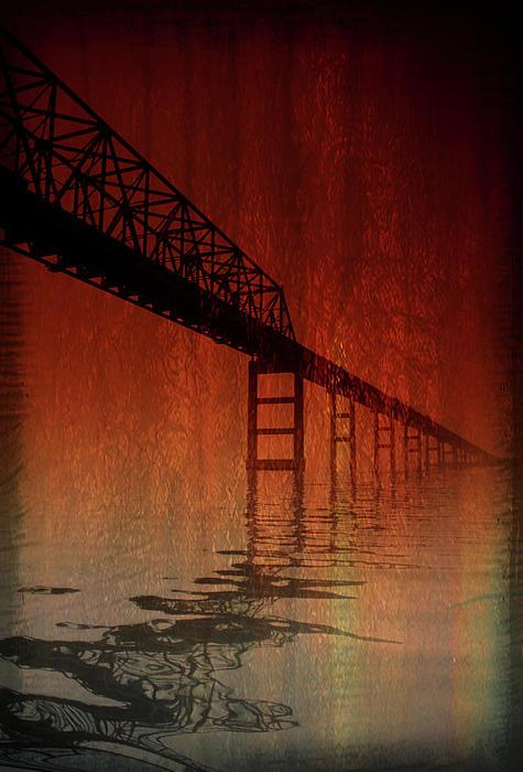 Key Bridge Artistic  In Baltimore Maryland Print by Skip Willits