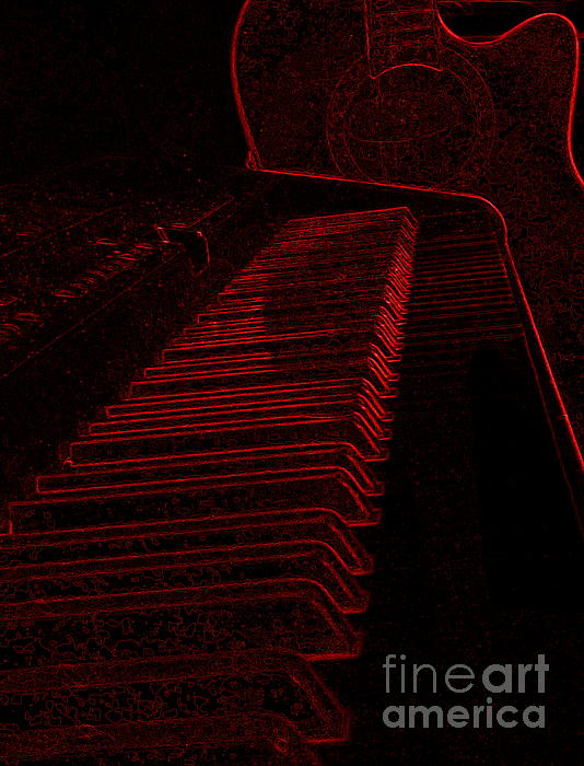 Sue Wild Rose - Keyboard and Guitar In Red