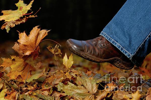 Kicking Fallen Autumn Leaves Print by Oleksiy Maksymenko