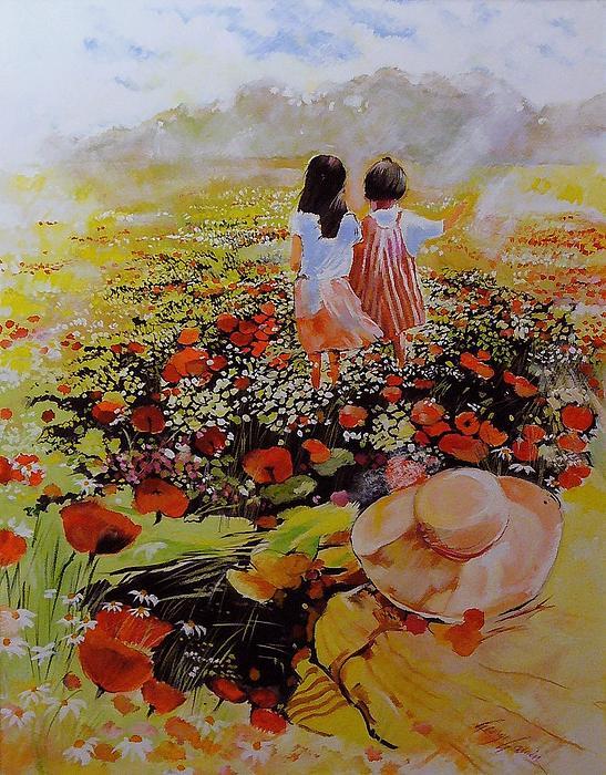 Kids In Poppies Field Print by George Ganciu