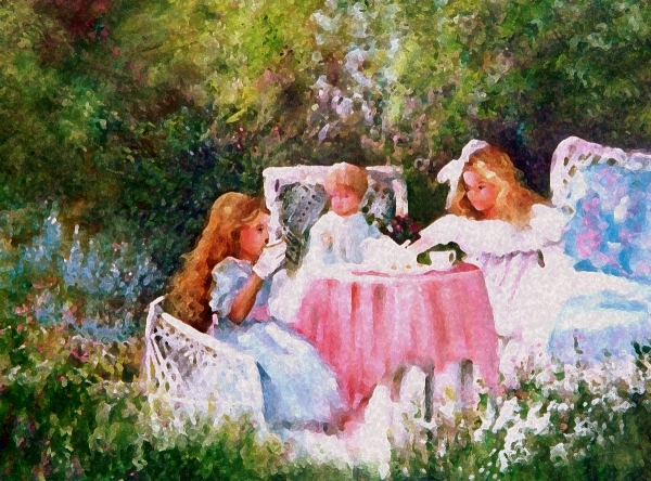 Kimber's Tea Party Print by Sally Seago