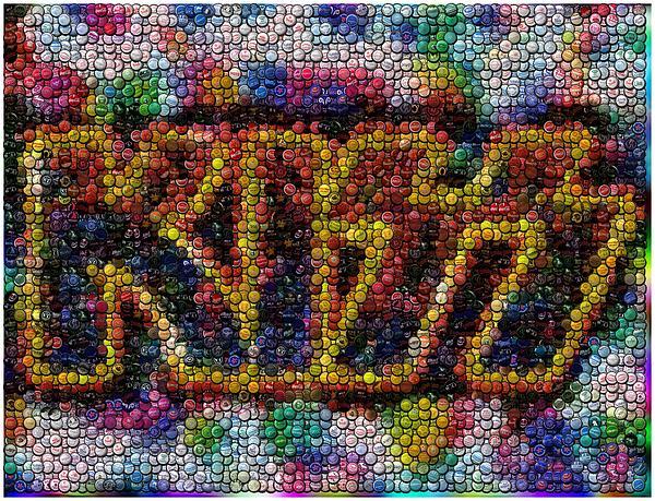 Kiss Bottle Cap Mosaic Print by Paul Van Scott