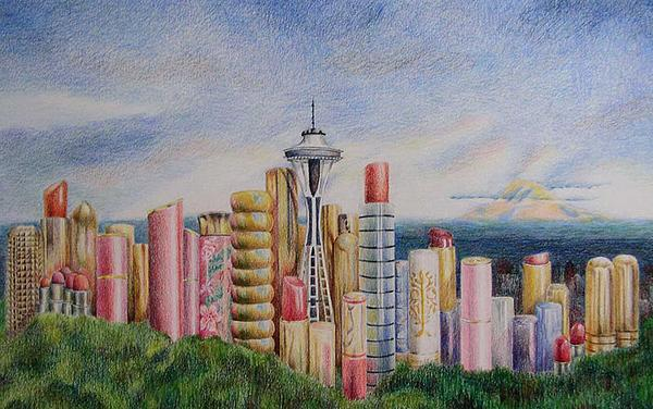 Kiss Of Seattle Painting  - Kiss Of Seattle Fine Art Print