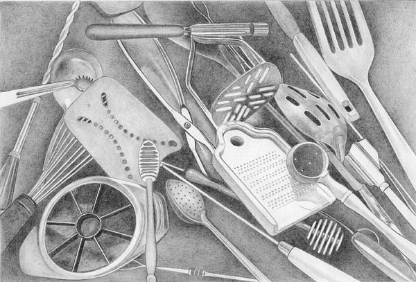 15 Kitchen Utensils Sketch : Kitchen Utensils Drawing : Kitchen Tools and Utensils Drawings