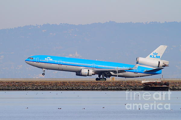Klm Royal Dutch Airlines Jet Airplane At San Francisco International Airport Sfo . 7d12157 Print by Wingsdomain Art and Photography