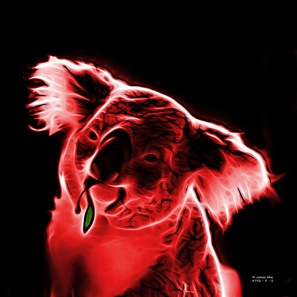 Koala Pop Art - Red Print by James Ahn