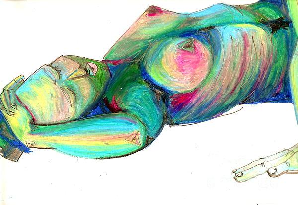 Koerperstudie3 Print by Roswitha Schmuecker