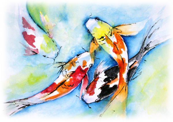 Koi Pond Print by Gina Hall