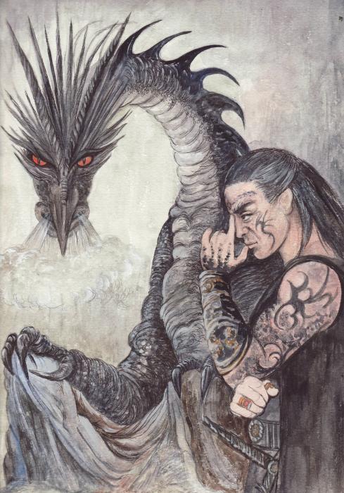 Kor-gat And Black Dragon Print by Morgan Fitzsimons