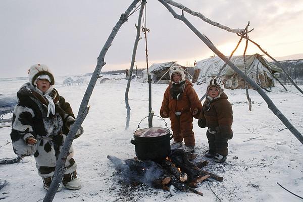 Koryak Children, Russian Far East Print by Ria Novosti