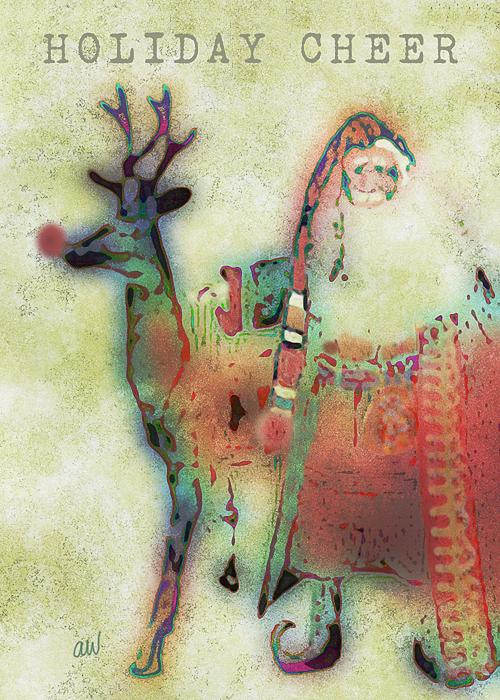 Kris And Rudolph Print by Arline Wagner
