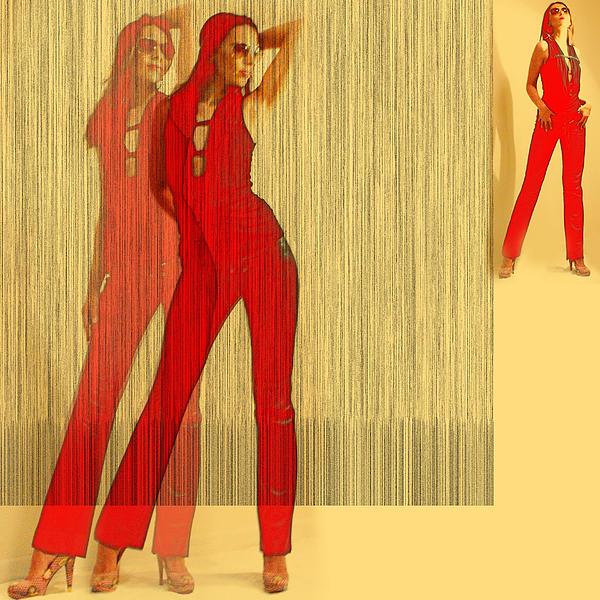 Kristine In Red Print by Naxart Studio