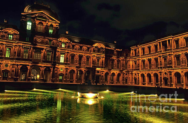La Cour Carree And The Building Of The Louvre Illuminated At Night Print by Sami Sarkis
