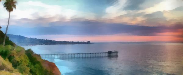 La Jolla Scripps Pier Print by Russ Harris