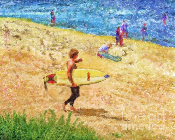 La Jolla Surfers Mixed Media  - La Jolla Surfers Fine Art Print