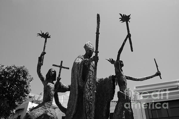 La Rogativa Statue Old San Juan Puerto Rico Black And White Print by Shawn O'Brien