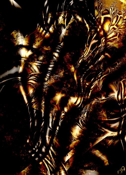Lacquered Veins Print by Ron Bissett