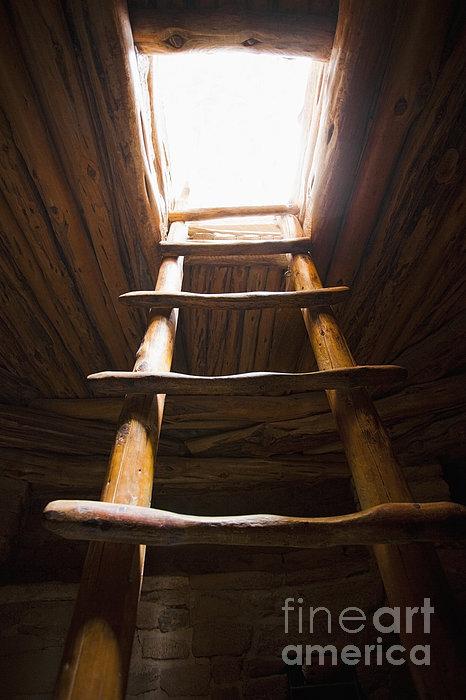 Ladder Of A Native American Cliff Dwelling Print by Bryan Mullennix