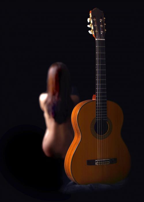 Lady And Guitar Print by Dario Infini