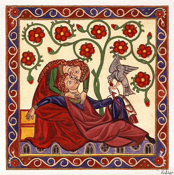 Lady And Knight With Hawk Print by Raffaella Lunelli