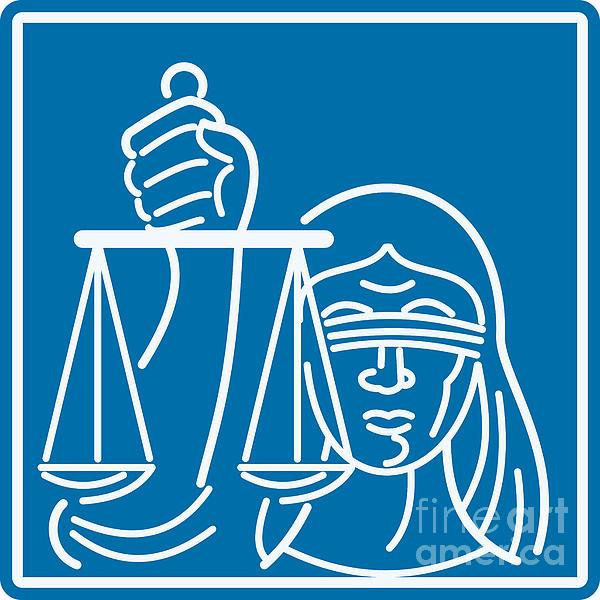 Lady Blindfolded Holding Scales Of Justice Print by Aloysius Patrimonio