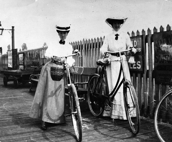 Lady Cyclists Print by Hulton Collection