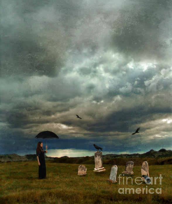 Lady In Graveyard Print by Jill Battaglia