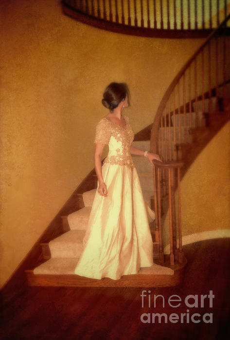 Lady In Lace Gown On Staircase Print by Jill Battaglia