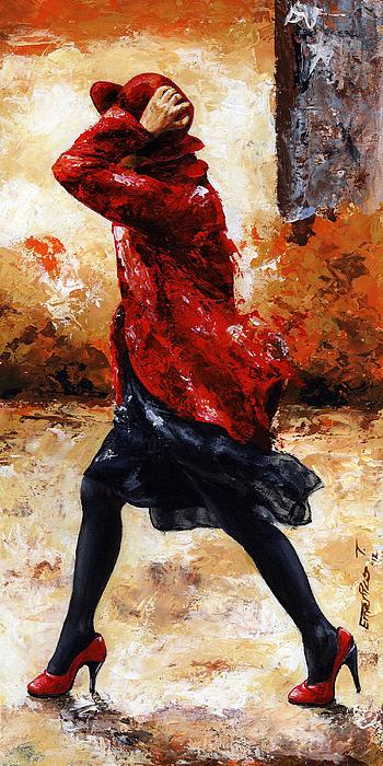 Lady In Red 28 Print by Emerico Imre Toth