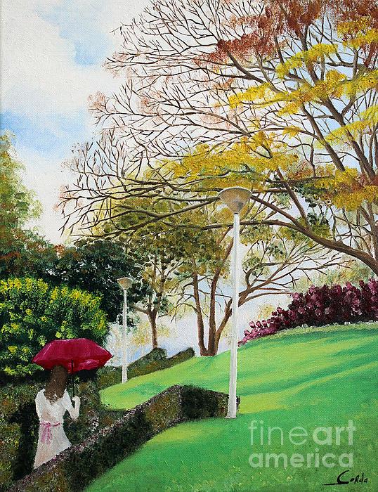 Lady In Red Umbrella - 1 Print by Seth Corda