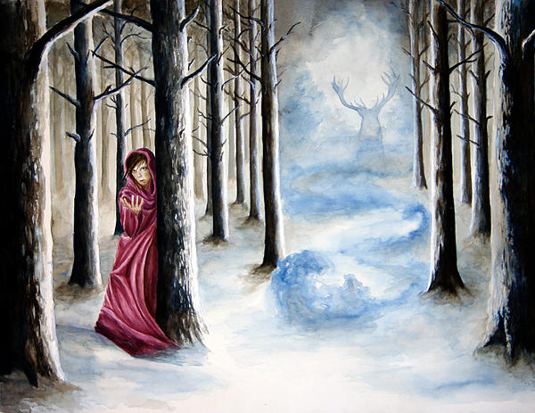 Lady In The Woods Print by James Skinner