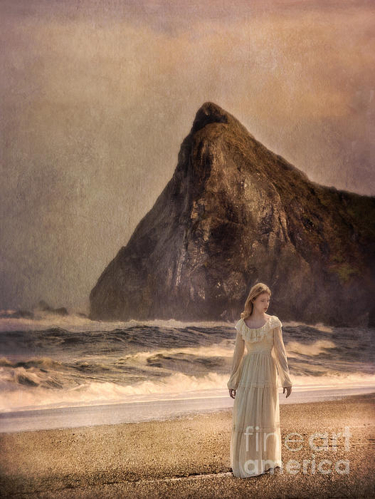 Jill Battaglia - Lady in Vintage Gown Walking on the Beach
