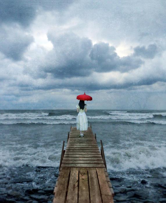 Lady On Dock In Storm Print by Jill Battaglia