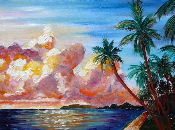Lahaina Maui Sunset Painting - Lahaina Maui Sunset Fine Art Print - Gayle ...