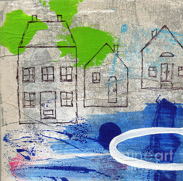 Lake Houses Print by Linda Woods