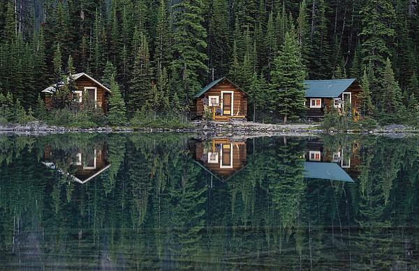 Lake Ohara Lodge Cabins Reflected Print by Michael Melford