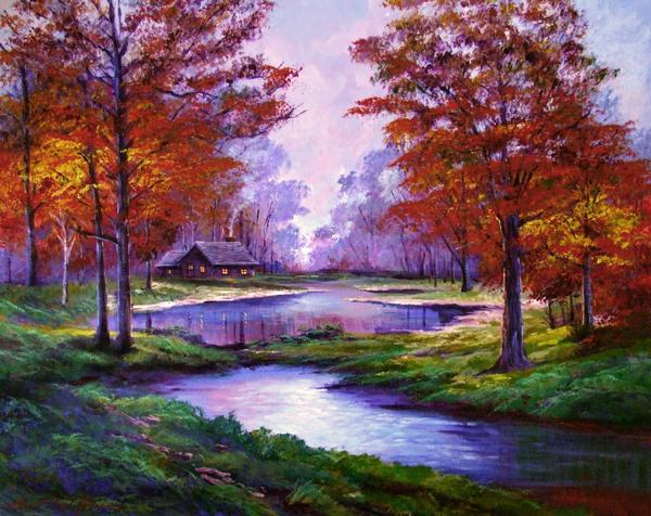 Lakeside Cabin Print by David Lloyd Glover