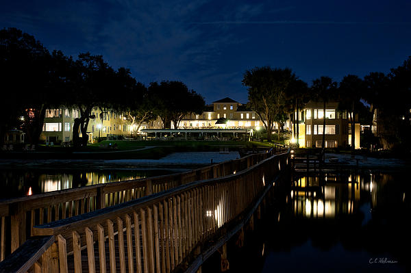 Lakeside Inn At Night Print by Christopher Holmes