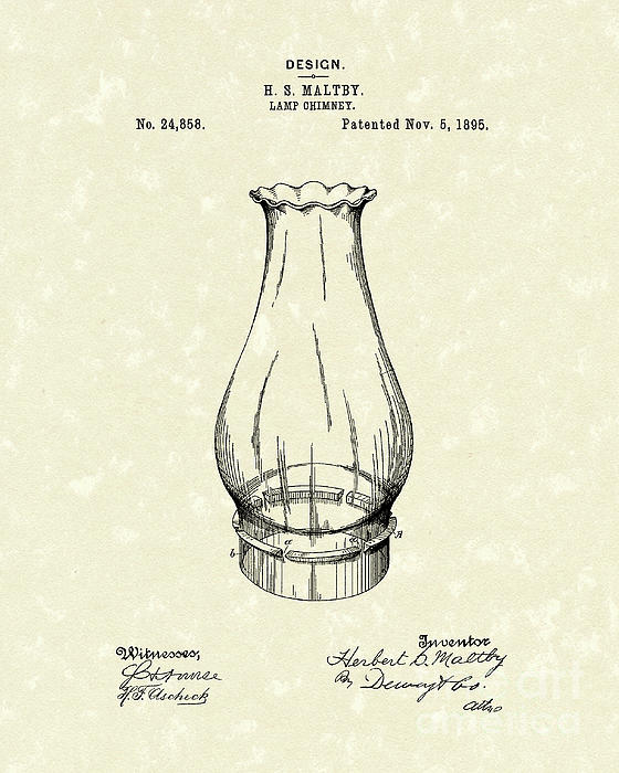 Lamp Chimney 1895 Patent Art Print by Prior Art Design