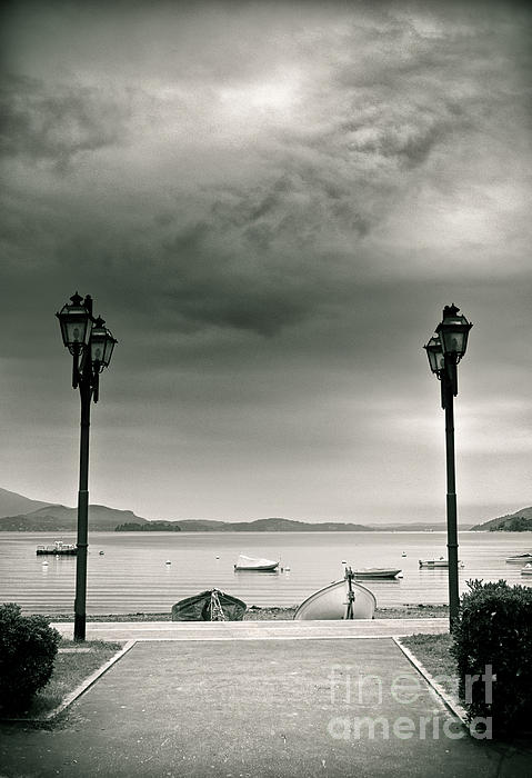 Lamps On Lake Print by Silvia Ganora