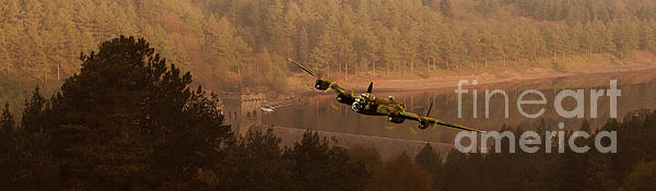Lancaster Over The Dams Print by Nigel Hatton